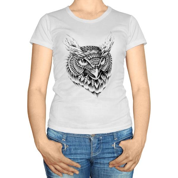 Женская футболка Черно-белый рисунок совы