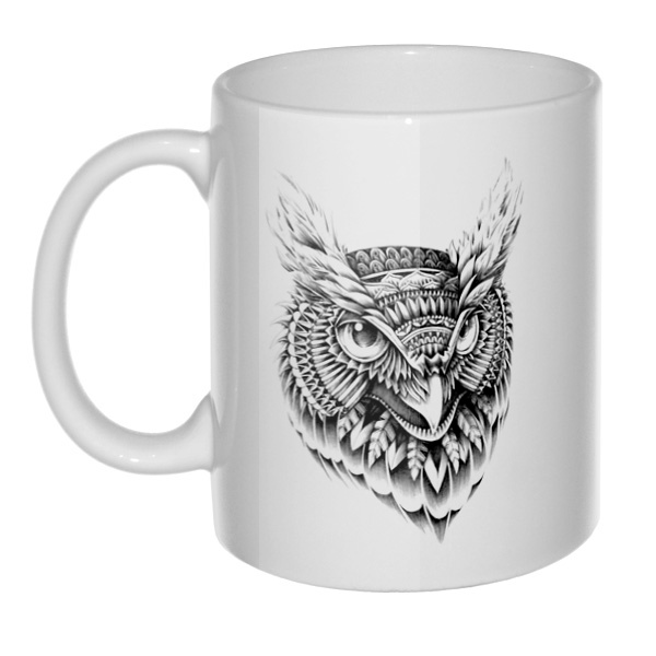 Кружка Черно-белый рисунок совы
