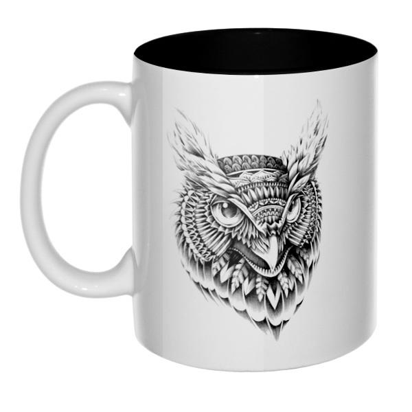 Черно-белый рисунок совы, кружка цветная внутри
