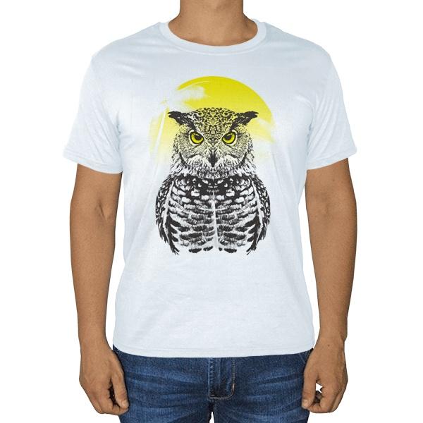 Сова на фоне тропического солнца, белая футболка