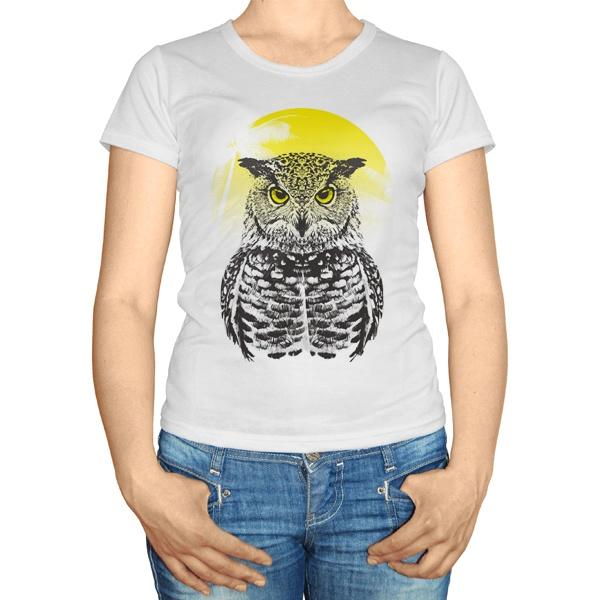 Женская футболка Сова на фоне тропического солнца