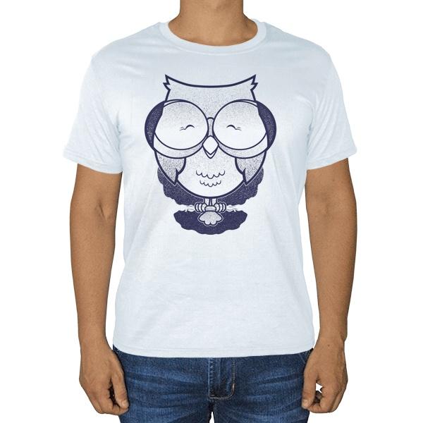Сова в очках, белая футболка