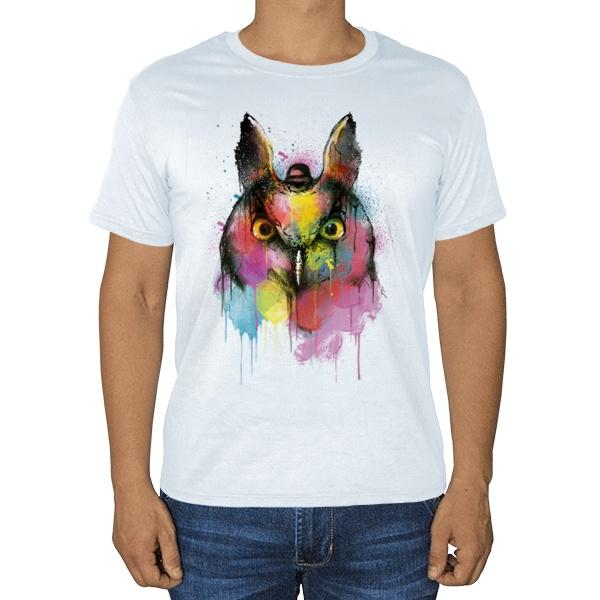 Сова из цветных клякс, белая футболка