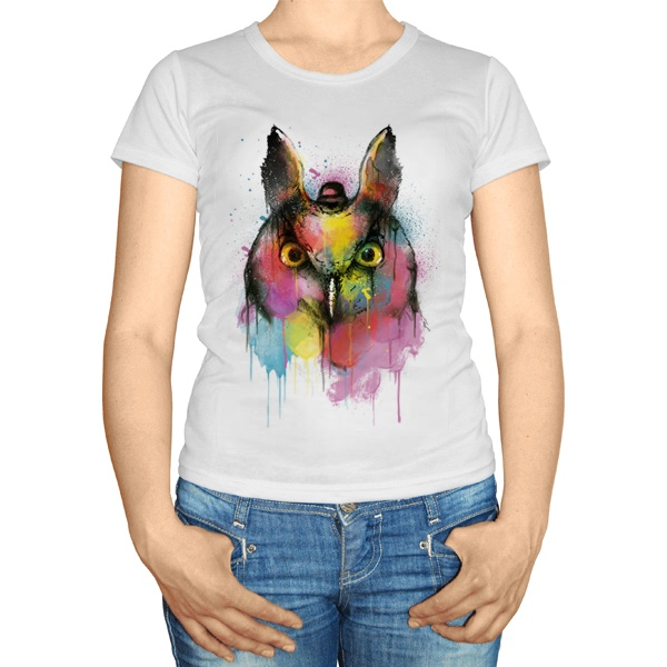 Женская футболка Сова из цветных клякс
