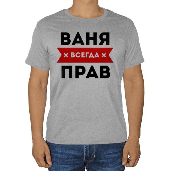 Ваня всегда прав, серая футболка (меланж)