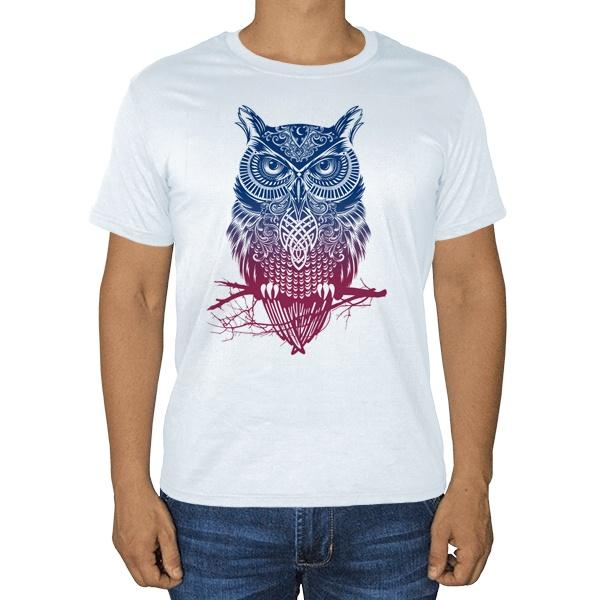 Градиентная сова, белая футболка