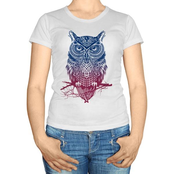 Женская футболка Градиентная сова