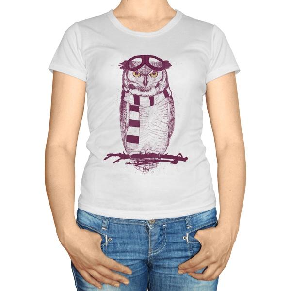 Женская футболка Сова с шарфом