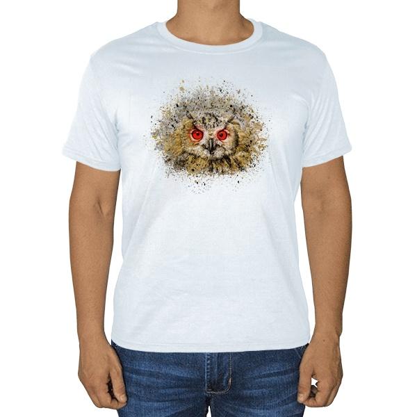 Сова из брызг краски, белая футболка