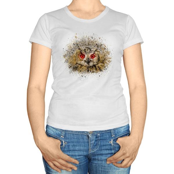 Женская футболка Сова из брызг краски