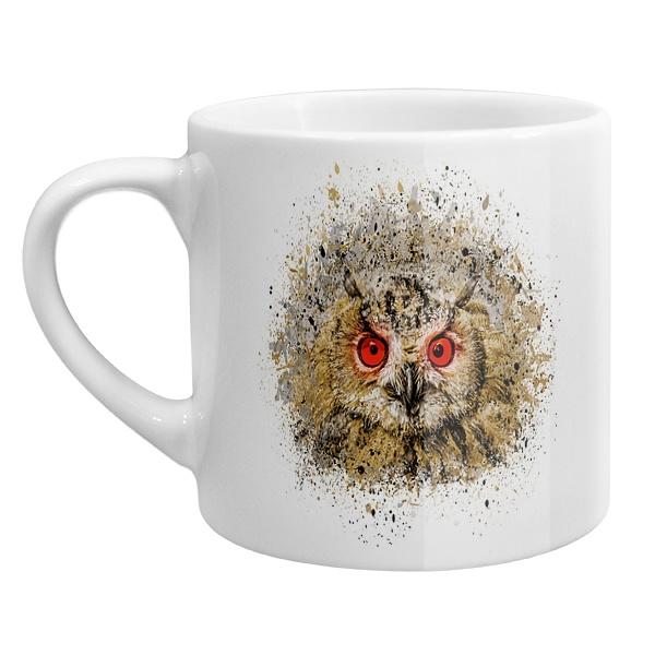 Кофейная чашка Сова из брызг краски