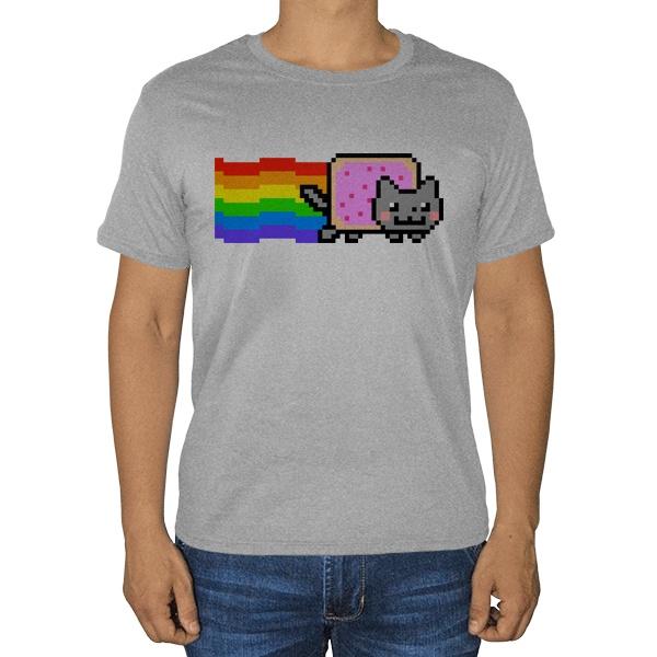Нян Кэт, серая футболка (меланж)