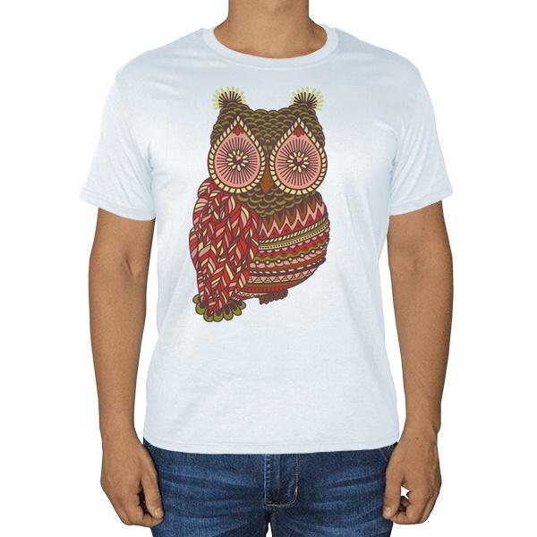 Рисунок совы, белая футболка