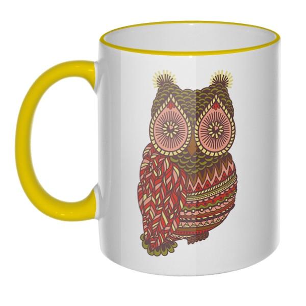 Кружка Рисунок совы с цветным ободком и ручкой