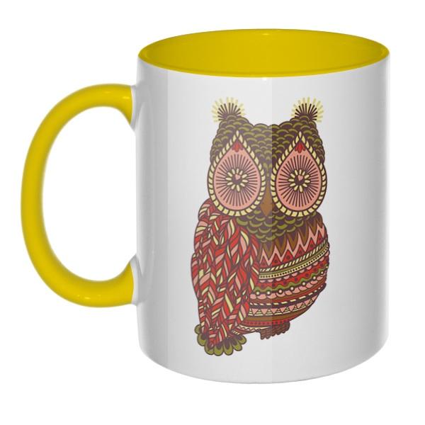 Рисунок совы, кружка цветная внутри и ручка