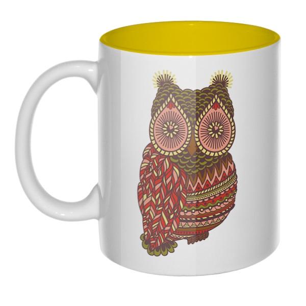 Рисунок совы, кружка цветная внутри