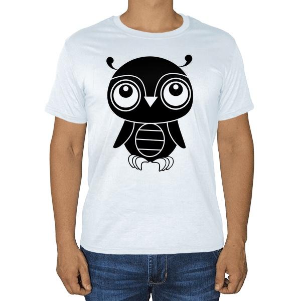 Черно-белый совенок, белая футболка