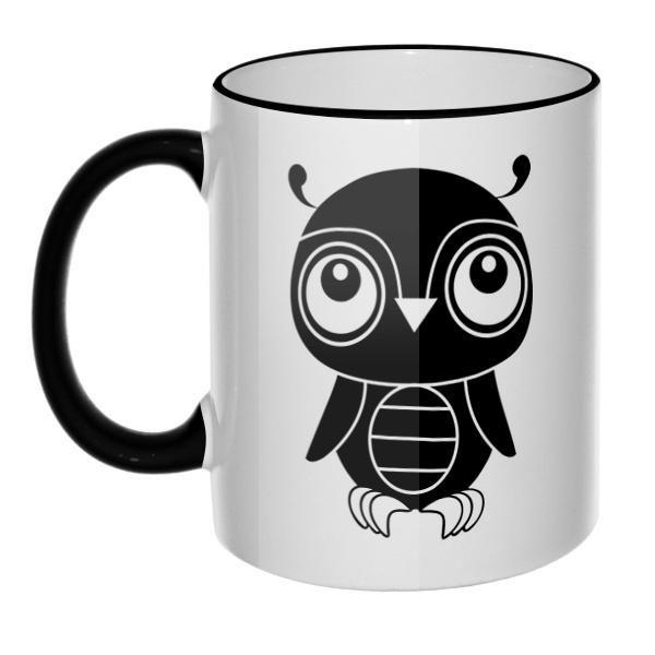 Кружка Черно-белый совенок с цветным ободком и ручкой