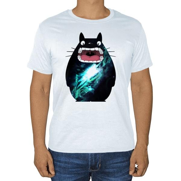 Космический Тоторо, белая футболка
