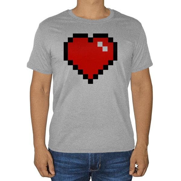 Пиксельное сердце, серая футболка (меланж)