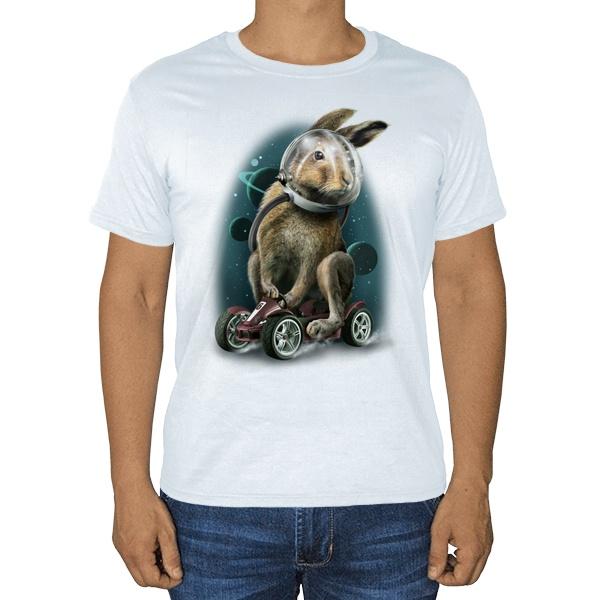 Заяц-космонавт, белая футболка