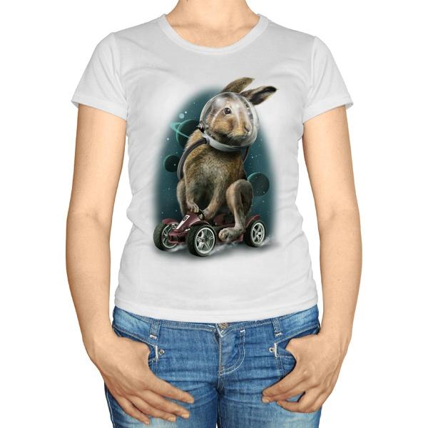 Женская футболка Заяц-космонавт