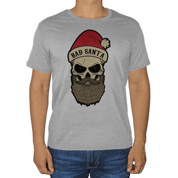 Плохой Санта, серая футболка (меланж)
