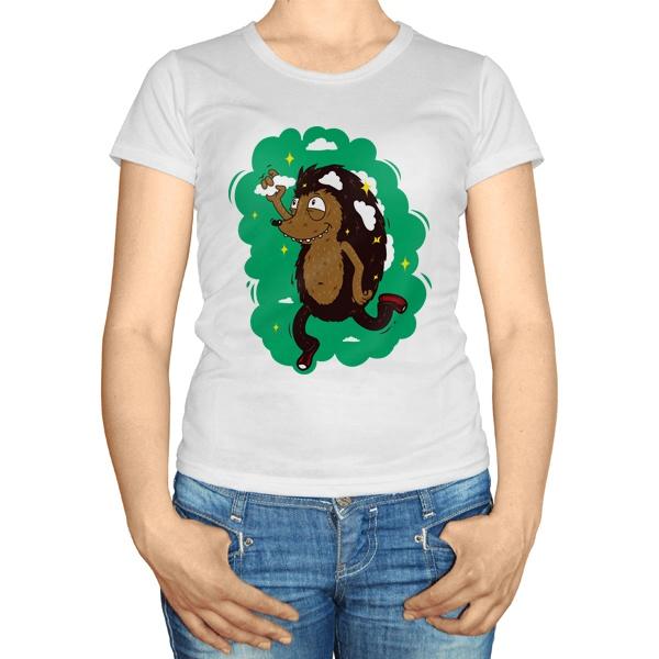Женская футболка Ёжик с облаками