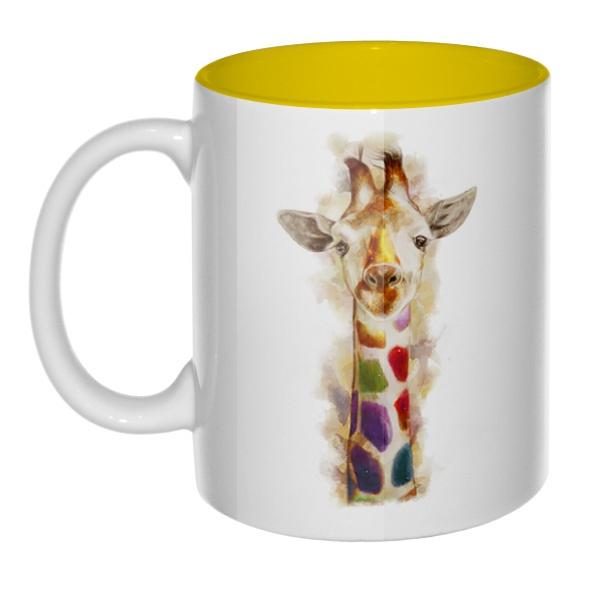 Жираф, кружка цветная внутри