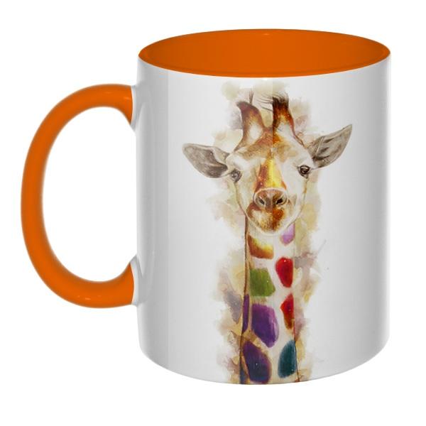 3D-кружка Разноцветный жираф, цветная внутри и ручка