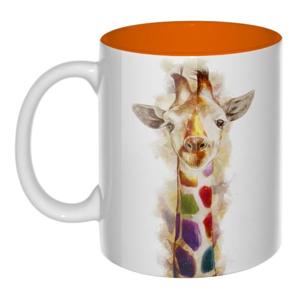 Разноцветный жираф, цветная внутри 3D-кружка