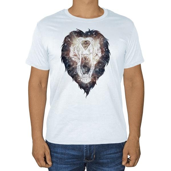 Череп льва, белая футболка