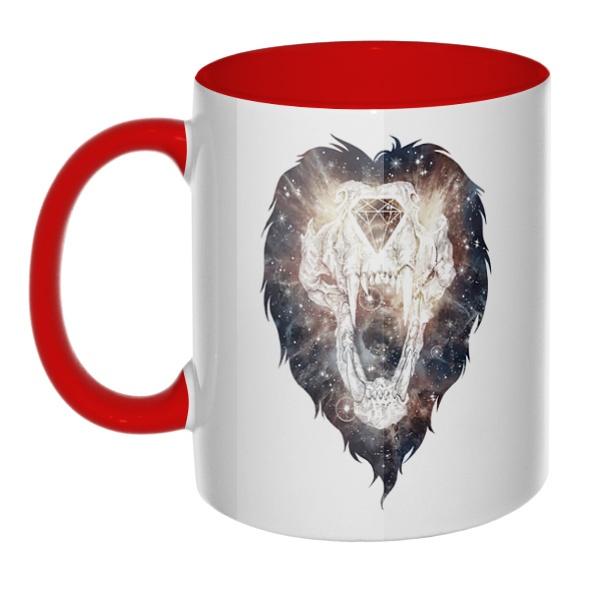 Череп льва, кружка цветная внутри и ручка