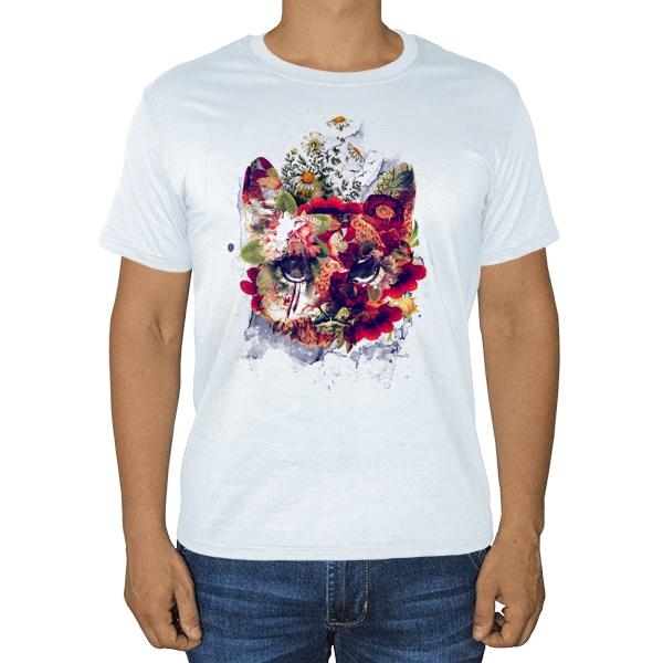 Кот в цветах, белая футболка