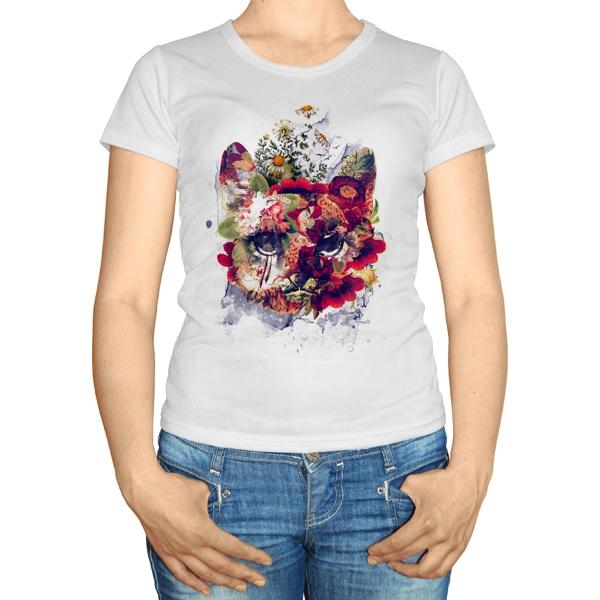Женская футболка Кот в цветах
