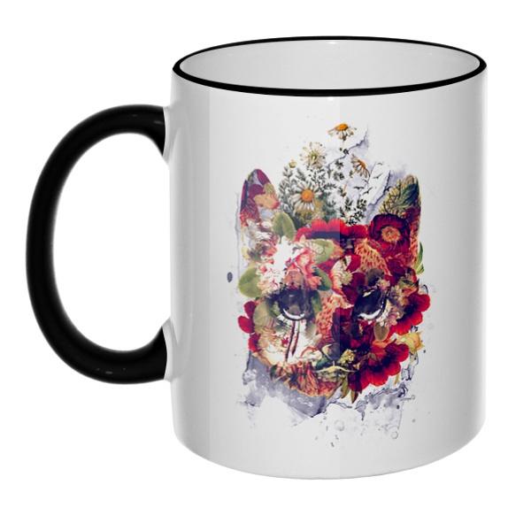 Кружка Кот в цветах с цветным ободком и ручкой