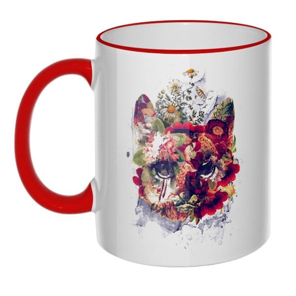 Кружка Кот в цветах с цветным ободком и ручкой, цвет красный