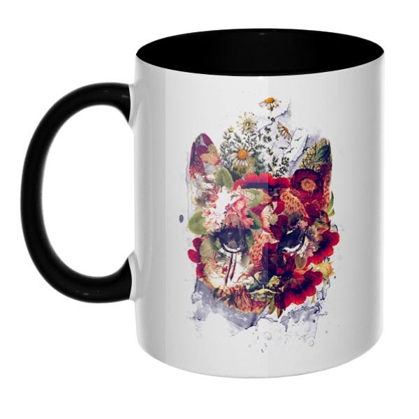 Кот в цветах, кружка цветная внутри и ручка