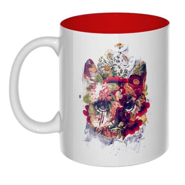 Кот в цветах, кружка цветная внутри