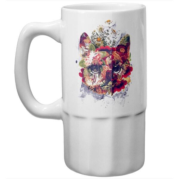 Пивная кружка Кот в цветах