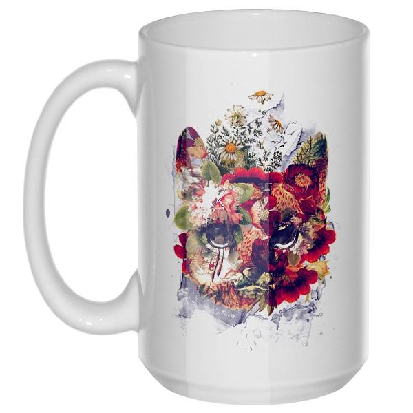 Кот в цветах, большая кружка с круглой ручкой