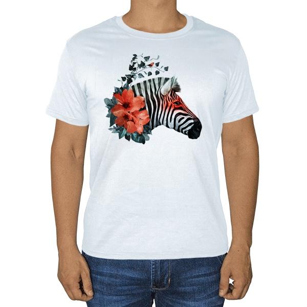 Зебра с цветами, белая футболка