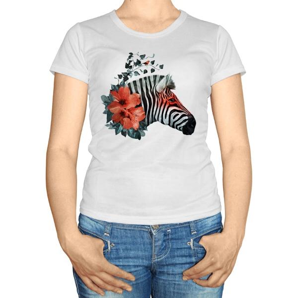Женская футболка Зебра с цветами