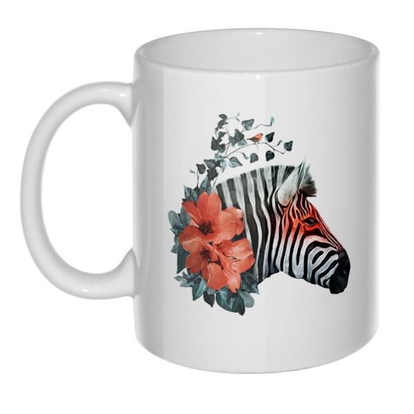 Кружка Зебра с цветами
