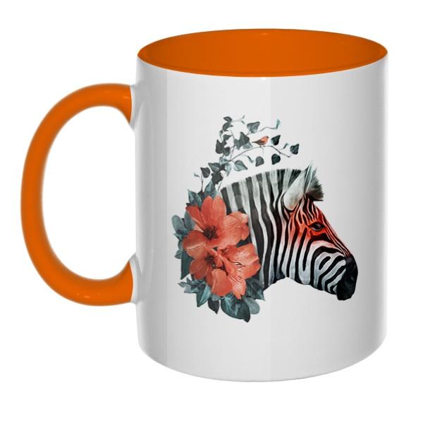 Зебра с цветами, кружка цветная внутри и ручка