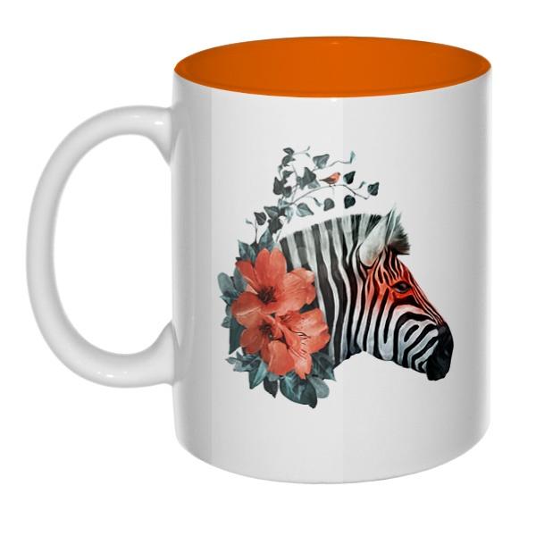 Зебра с цветами, кружка цветная внутри