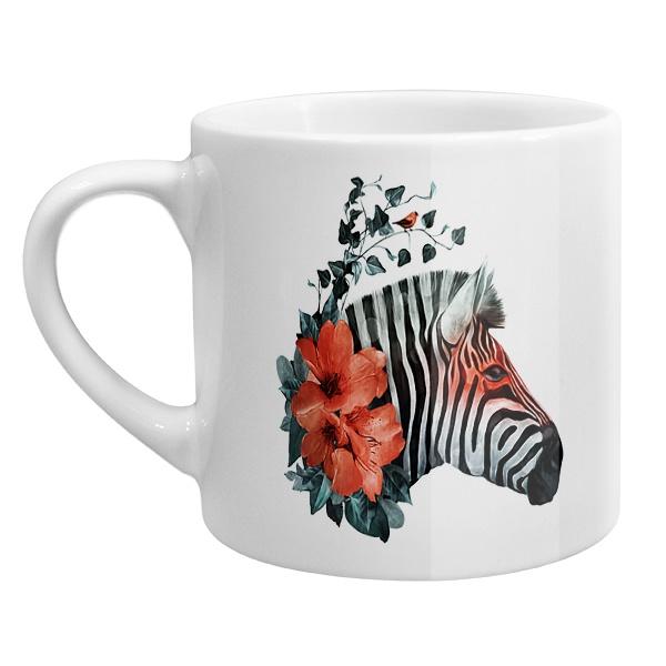 Кофейная чашка Зебра с цветами