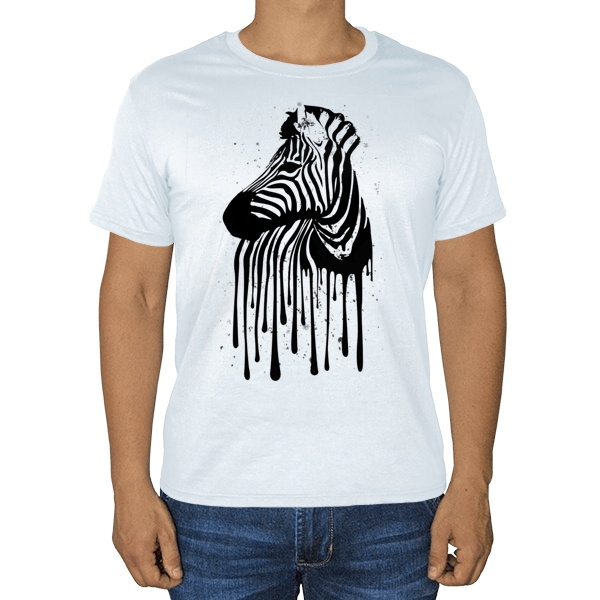 Стекающий рисунок зебры, белая футболка