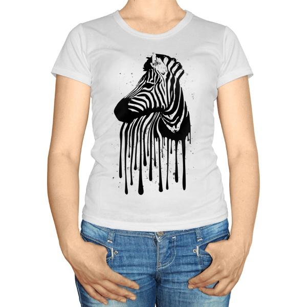 Женская футболка Стекающий рисунок зебры