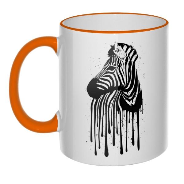 Кружка Стекающий рисунок зебры с цветным ободком и ручкой